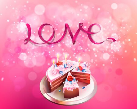 Vector inscription love pink ribbon on a pink background with big cake bokeh and light. Happy Valentines Day Card Design. February. I Love You. Vector Blurred Soft Background. Happy birthday Vector