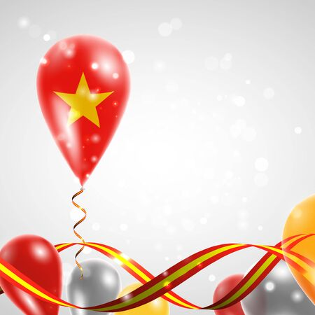 foreign country: Flag of Vietnam on balloon. Celebration and gifts. Ribbon in the colors of the flag are twisted under the balloon. Independence Day. Balloons on the feast of the national day. Illustration