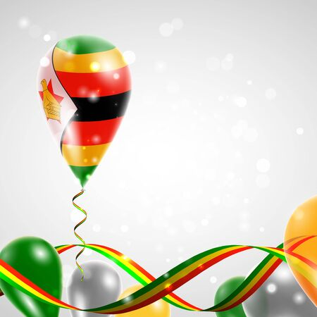 Flag of Zimbabwe on balloon. Celebration and gifts. Ribbon in the colors of the flag are twisted under the balloon. Independence Day. Balloons on the feast of the national day.