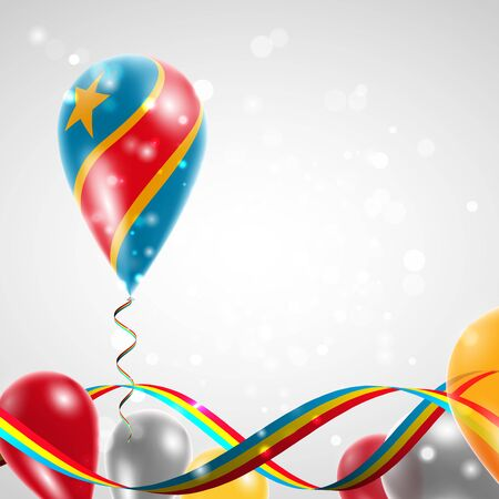 feast: Flag of Democratic Republic of Congo on balloon. Celebration and gifts. Ribbon in the colors of the flag are twisted under the balloon. Independence Day. Balloons on the feast of the national day. Illustration