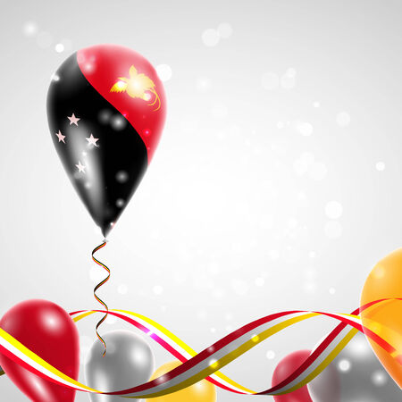 papouasie: Drapeau de la Papouasie - Nouvelle-Guin�e le ballon. C�l�bration et cadeaux. Ruban dans les couleurs du drapeau sont tordus sous le ballon. Jour De L'Ind�pendance. Ballons sur la f�te de la f�te nationale.