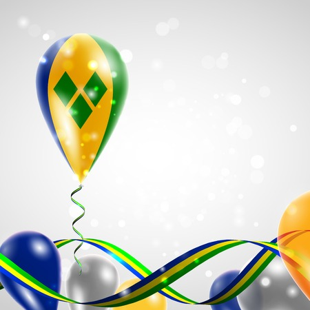 feast: Flag of Saint Vincent and the Grenadines on balloon. Celebration and gifts. Ribbon in the colors of the flag are twisted under the balloon. Independence Day. Balloons on the feast of the national day. Illustration