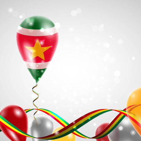 feast day: Flag of Suriname on balloon. Celebration and gifts. Ribbon in the colors of the flag are twisted under the balloon. Independence Day. Balloons on the feast of the national day.
