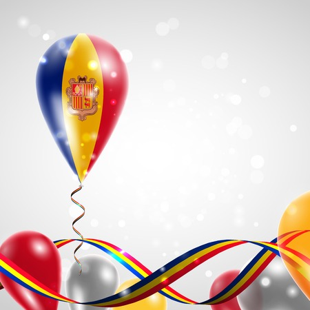 feast day: Flag of Andorra on balloon. Celebration and gifts. Ribbon in the colors of the flag are twisted under the balloon. Independence Day. Balloons on the feast of the national day. Illustration