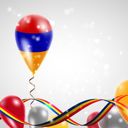 armenian: Armenian flag on balloon. Celebration and gifts. Ribbon in the colors of the flag are twisted under the balloon. Independence Day. Balloons on the feast of the national day. Illustration