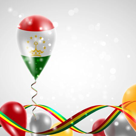 feast: Flag of Tajikistan on balloon. Celebration and gifts. Ribbon in the colors of the flag are twisted under the balloon. Independence Day. Balloons on the feast of the national day. Illustration
