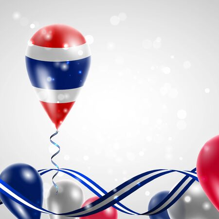 feast day: Flag of Thailand on balloon. Celebration and gifts. Ribbon in the colors of the flag are twisted under the balloon. Independence Day. Balloons on the feast of the national day.