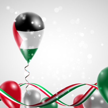 feast: Flag of Palestine on balloon. Celebration and gifts. Ribbon in the colors of the flag are twisted under the balloon. Independence Day. Balloons on the feast of the national day.