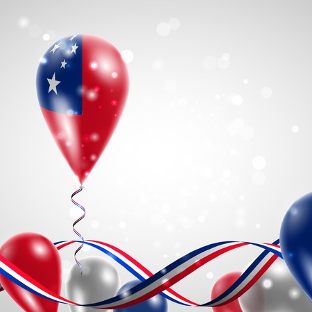 feast: Flag of Samoa on balloon. Celebration and gifts. Ribbon in the colors of the flag are twisted under the balloon. Independence Day. Balloons on the feast of the national day. Illustration