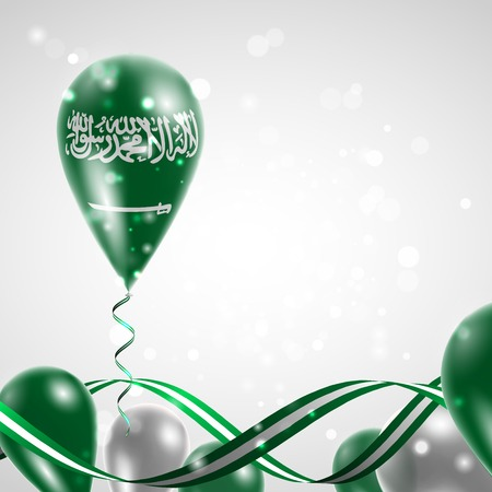 independence: Flag of Saudi Arabia on balloon. Celebration and gifts. Ribbon in the colors of the flag are twisted under the balloon. Independence Day. Balloons on the feast of the national day. Illustration
