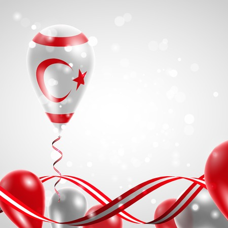 Flag of Northern Cyprus on balloon. Celebration and gifts. Ribbon in the colors of the flag are twisted under the balloon. Independence Day. Balloons on the feast of the national day. Illustration