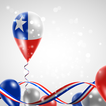 Flag of Chile on balloon. Celebration and gifts. Ribbon in the colors of the flag are twisted under the balloon. Independence Day. Balloons on the feast of the national day. Vettoriali