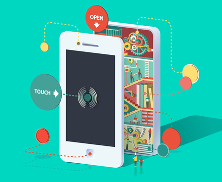 Flat 3d web isometric infographic social media promotion online marketing modern technology communication concept. Huge smartphone micro people work created Spread the word Creative people collection Stock Illustratie