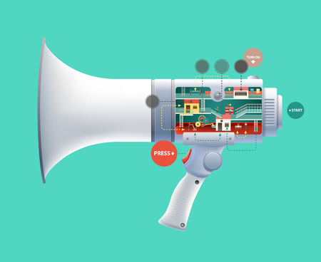 inform: Flat 3d web isometric infographic social media promotion online marketing modern technology communication concept. Huge loudspeaker micro people work created Spread the word Creative people collection