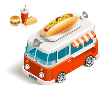 hot sale: isometric illustration Van with hot dog, hamburger, tacos, soft drink in a paper cup with lid and drinking straw