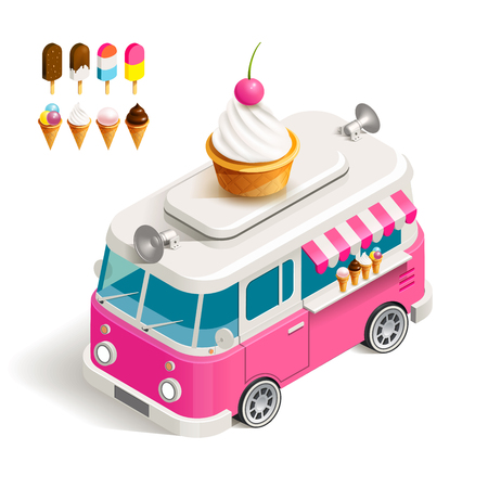 ice cream: Cafe car Ice cream on wheels. color isometric illustration Van with ice cream Illustration