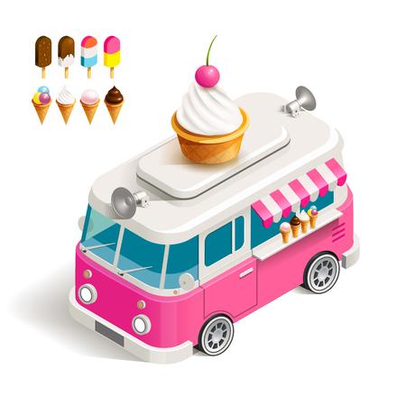 helado caricatura: Cafe Helado automóvil a las ruedas. ilustración de color isométrica Van con helado Vectores