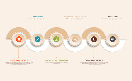 graphic presentation: infographics element with a spiral and business icons.