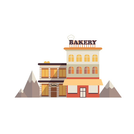 snowcapped: Isolated icon building a bakery near the building of salon on a background of snow-capped mountains in flat style on a white background. Illustration