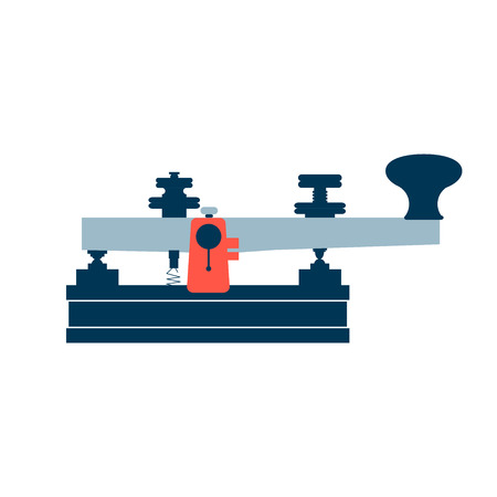 telegrama: Icono aislado de la vendimia telégrafo antigua de estilo plano sobre un fondo blanco con rojo, azul oscuro y azul