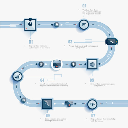 road: abstract infographics road. Control levers communicate with one another. Illustration
