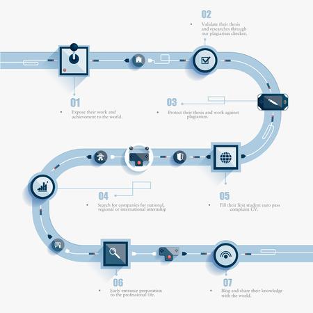 carretera: carretera infografía abstracto. Las palancas de control se comunican entre sí.
