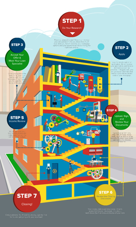 office staff: isometric infographics multi-storey building with stairs and office staff the successful production. Use for printed products, website, information, familiarization, advertising, flyers