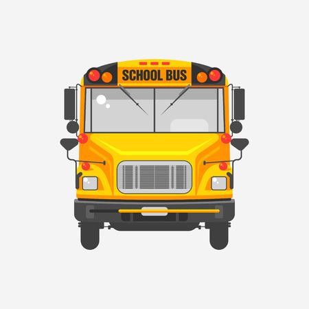 灰色の背景にスクールバスのフラット アイコン黄色の図。