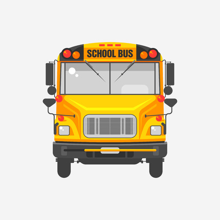 education cartoon: illustration flat icon yellow school bus on grey background.
