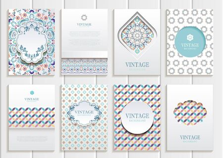 cover art: set of brochures in vintage style.