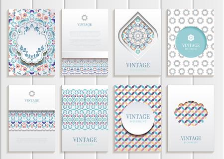 주식 벡터 빈티지 스타일의 브로셔의 집합입니다. 벡터 디자인 빈티지 프레임 및 배경 템플릿. 인쇄 재료, 요소, 웹 사이트, 표지판에 사용합니다. 일러스트