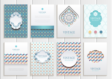 blank template: set of brochures in vintage style.