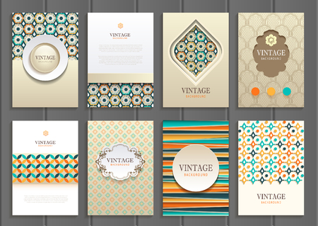 set of brochures in vintage style.