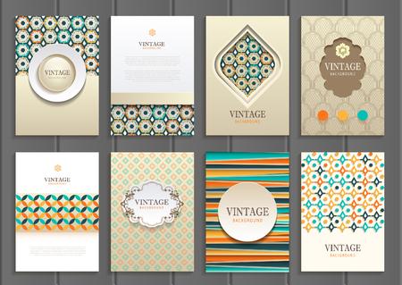 set of brochures in vintage style.