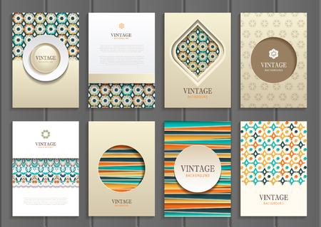 magazine page: set of brochures in vintage style.