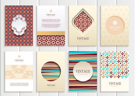 distributing: set of brochures in vintage style.