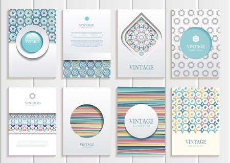 web design elements: set of brochures in vintage style.