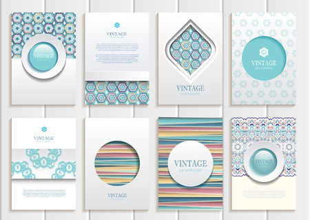 blue design: set of brochures in vintage style.