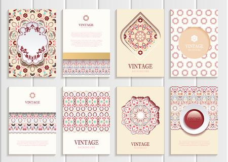 distributing: Stock set of brochures in vintage style.