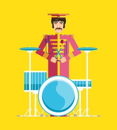 drummer: Silhouette of drummer player. Flat design. The singers, rock musician, drummer