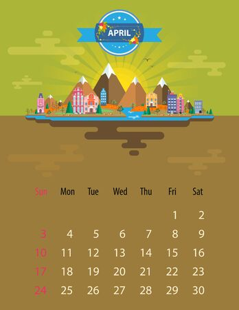 Calendar for 2016 in letter format. Style slim design. Set 5. Landscape of a small town on the background of nature mountains, buildings, trees and sky, clouds, water. Illustration. Image. Vector.