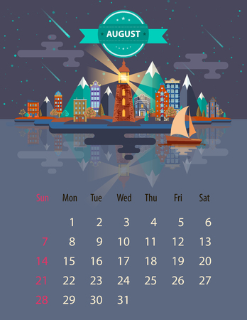 saturday night: Calendar for 2016 in letter format. Style slim design. Set 5. Landscape of a small town on the background of nature mountains and buildings, trees, sky and clouds, water. Illustration. Image. Vector.