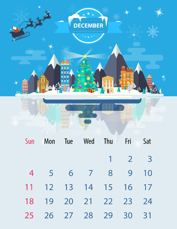 small town: Calendar for 2016 in letter format. Style slim design. Set 5. Landscape of a small town on the background of nature mountains, buildings and tree and sky, clouds. Illustration. Image. Vector.
