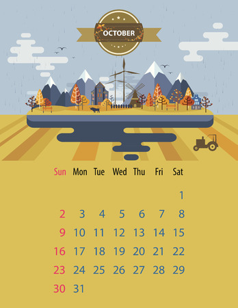 arable: Calendar for 2016 in letter format. Style slim design. Set 5. Landscape of a small town on the background of nature mountain and building and tree, tractor, sky, clouds. Illustration. Image. Vector