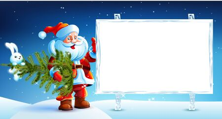 Santa Claus standing in the snow and holding a Christmas tree with hanging rabbit. Santa shows an inscription on wood board. Merry Christmas. Image. Vector.