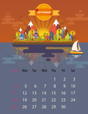 small town: Calendar for 2016 in letter format. Style flat design. Set 5. Landscape of a small town on the background of nature mountains and buildings, trees and sky, clouds, water. Illustration. Image. Vector Illustration