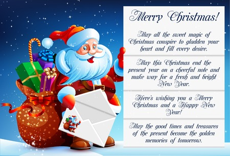 bag cartoon: Santa Claus reads a letter of congratulation. In his hands he holds a festive envelope. Next to Santa Claus bag with gifts, sweets and surprises. Happy New Year. Merry Christmas. Vector. Icon.