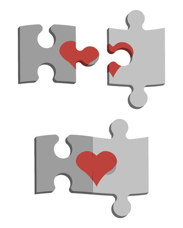 disconnection: Puzzles and heart. This is Love. Heart
