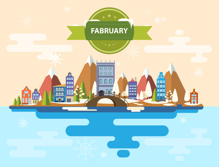 Winter landscape. Small town. Set 1 of urban buildings. Calendar. Month of February. Infographics. Flat design Mountains, nature, buildings, city Stock Image Illustration Vector Çizim