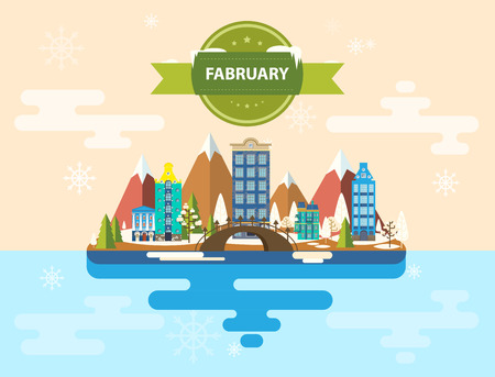 february 1: Winter landscape. Small town. Set 1 of urban buildings. Calendar. Month of February. Infographics. Flat design Mountains, nature, buildings, city Stock Image Vector Illustration
